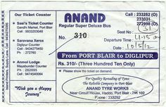 India. Bus ticket Port Blair – Diglipur, Andaman & Nicobar Islands. 12 hour journey...