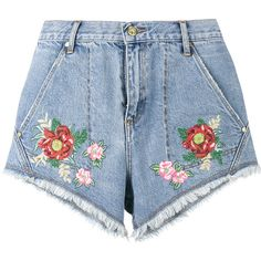 House Of Holland House Of Holland X Lee Flower Embroidered Denim... (600 RON) ❤ liked on Polyvore featuring shorts, jean shorts, blue jean short shorts, house of holland, blue jean shorts and denim short shorts