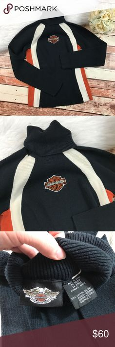 Vintage Harley Davidson ribbed turtleneck sweater Size small in excellent vintage condition, no major visible flaws! Normal signs of wear. From the early 2000s! Length-23, bust-18 pit to pit ***NO modeling or trades!! ::559 Harley-Davidson Sweaters Cowl & Turtlenecks