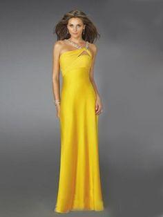Floor Length Satin Yellow Prom Dress - http://www.vudress.com/