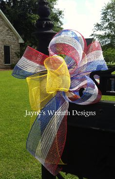 4th of July  Red, White, & Blue w/ Yellow Ribbon, Mailbox or Lantern Bow