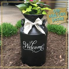 Welcome Decal for Milk Can, Front Door, Front Porch - DIY vinyl lettering by Lively Lettering