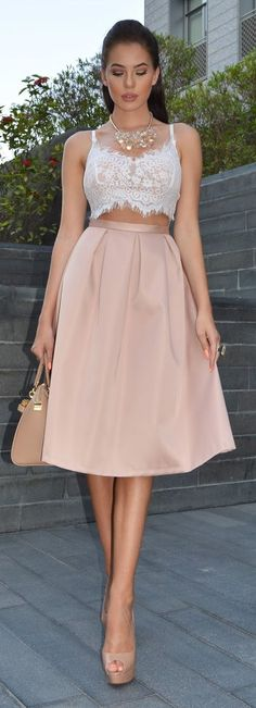 Crop top and midi nude/pink skirt