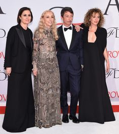 Maria Grazia Chiuri, Franca Sozzani, Pierpaolo Piccioli and Valeria Golino attend the 2015 CFDA Fashion Awards at Alice Tully Hall at Lincoln Center on June 1, 2015 in New York City.