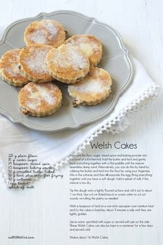 Pice ar y maen, (Welsh cakes), a Welsh teatime treat passed on through generations and still as popular as ever - recipe looks easy (just need amounts in American measures). Welsh Cakes Recipe, Welsh Recipes, Easy Welsh Cakes, Scones, Naan, Cookie Recipes, Dessert Recipes, Biscuits, Food Cakes