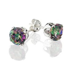 Genuine Mystic Topaz and Sterling Silver Stud Earrings at 83% Savings off Retail!