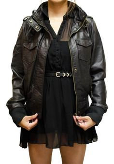 Bomber Jacket with Removable Knit Hood