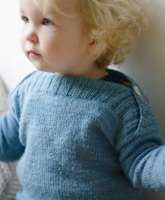 Free Knitting Pattern for Binic Baby Pullover - This boatneck baby pullover sweater features ribbed lapped shoulders with a button for easy dressing. Sizes 18-24 months. Available in English, Italian, and French. Designed by Solenn Couix-Loarer