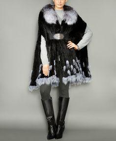 0754d78efa8 The Fur Vault Fox-Fur-Trim Knitted Mink Fur Cape Fur Cape