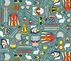 Skiing: 1970s Style fabric by sammyk on Spoonflower - custom fabric
