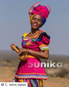 The Pedi traditional attire is the most colourful of the South African Traditional Dresses. SePedi attire is made mostly in combinations of bright pinks, turquoise, Yellow sometime blue and white. The rich and vibrant colours represent happiness. Traditional Dresses Images, South African Traditional Dresses, Traditional Wedding Dresses, African Wear, African Attire, African Fashion Dresses, African Dress, African Style, Pedi Traditional Attire