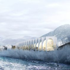 San Pellegrino Flagship Factory - Exterior Concept Design - While designing the new flagship factory, BIG tried to fit their design into the beautiful San Pellegrino Terme area, hoping to blend it into its surroundings.