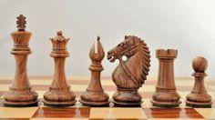 """4"""" Wooden Weighted Staunton Chess Set Shesham Wood"""