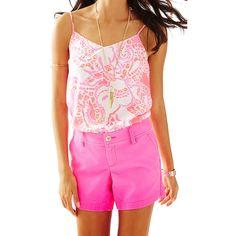 "Lilly Pulitzer 5"" Callahan Short (83 AUD) ❤ liked on Polyvore featuring shorts, kir royal pink, short shorts, lilly pulitzer shorts, polka dot shorts, twill shorts and pink shorts"