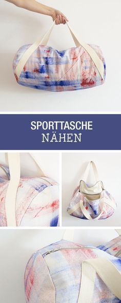 Sewing instructions for a trendy sports bag or weekender / diy sewing tutorial: sew your own duffle Diy Bag Designs, Design Tutorials, Diy Design, Diy Backpack, Diy Duffle Bag, Diy Bags Purses, Diy Tumblr, Diy Mode, Diy Shirt