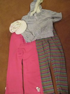 Gymboree Girl Size 7 Clothes 4 Pieces Pants Leggings Hoodie Cap Hat Pink Gray  #Gymboree #Everyday