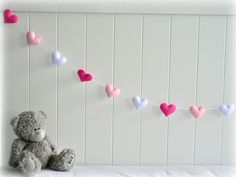 Heart banner/ garland/ bunting - Fuchsia pink, baby pink and white - birthday decor - gifts - custom made. $37.00, via Etsy.