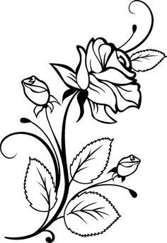 Roses Flowers Vine Leaves Bud Open Clip Art Black And White