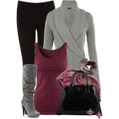 A Chic outfit for the night. I'll wear black leggings pared with a maroon top and grey sweater with some comfortable boots!