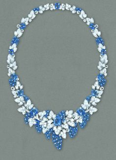 .After a 12-year absence, Graff is returning to the Biennale in 2014 with a collection of one-off jewels, including this nature-inspired sapphire and diamond necklace, created especially for the occasion.
