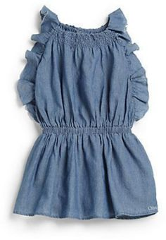 This ChloéInfant's Ruffled Chambray Dressis a Chambray Dress with soft Ruffles for a fluttery effect.
