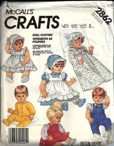McCall's 2862 Doll Clothes Pattern Sizes by DawnsDesignBoutique, $9.00