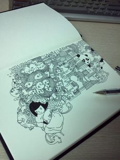 Pen Illustrations by DoubleH , via Behance