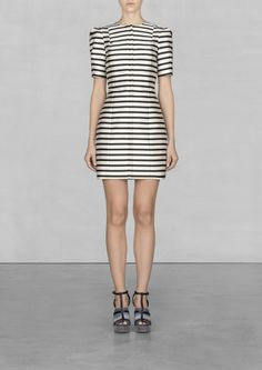 & OTHER STORIES Made from smooth, crisp fabric with a light sheen, this short-sleeved dress has a voluminous and curvy silhouette and a nautical style striped print.