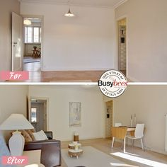 Empty front room before and after home staging