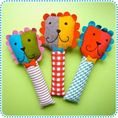 Handmade Plush Toy Softies, Lion Baby Rattles
