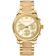Michael Kors Cream & Gold Chronograph Watch ($265) ❤ liked on Polyvore featuring jewelry, watches, accessories, bracelets, relojes, michael kors watches, gold strap watches, chunky jewelry, gold chronograph watch and gold wrist watch