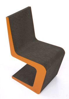 Larvik orange & gray Ideacarton Cardboard Furniture A chair made of corrugated cardboard cut and arranged alternately until to the desired dimensions. Completed profiles of the hard plate. The whole thoroughly finished and painted. What do you think about this?