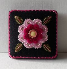 Handmade Needle Cushion Felted Wool Pink Blossom Pin Cushion