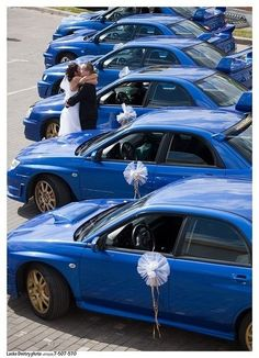 Subaru WRX STI - would LOVE this idea for my wedding - but it won't fit in with the goth theme!