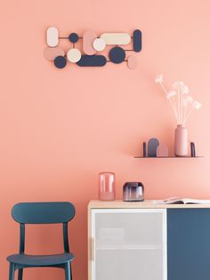 Blue, Pink and Gold Metal Wall Art on Maisons du Monde. Take your pick from our furniture and accessories and be inspired! Office Wall Colors, Bedroom Wall Colors, Accent Wall Bedroom, Coral Walls Bedroom, Pastel Walls, Pink Walls, Gold Metal Wall Art, 80s Interior Design, Murs Roses