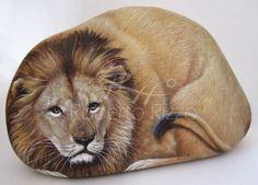 painted rock lion