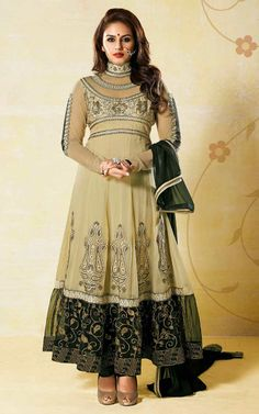 CREAM  BLACK GEORGETTE ANARKALI SALWAR KAMEEZ - BL 7210