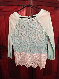 Free People Bohemian Indie Blue Lace Blouse Women's Size Small