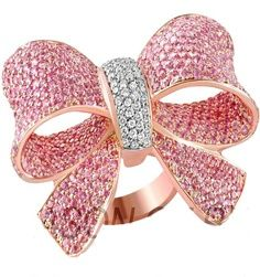 Pink diamond over sized bow ring by Jason of Beverly Hills.