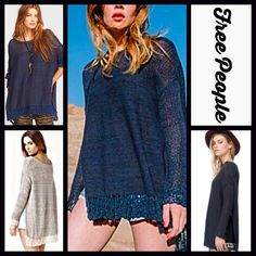 "FREE PEOPLE Tunic Sweater Crochet Pullover NEW WITH TAGS $128 FREE PEOPLE Tunic Sweater Crochet Pullover  * Relaxed, oversized boyfriend fit.  * Round neck & long crochet trim sleeves.  * Lightly textured, lightweight, & soft loose knit stretch-to-fit fabric.   * About 26.5-28.5"" long  * Subtle Hi-Lo hem.   * Pointelle & crochet details.    Fabric: 81% Cotton, 6% nylon & 5% linen. Color: 'Washed' Navy Blue  Item:  No Trades ✅ Offers Considered*✅ *Please use the blue 'offer' button to submit…"