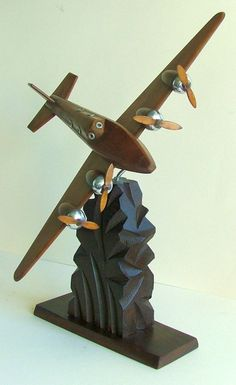 Art Deco Model Wood and Metal Airplane
