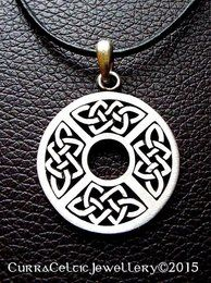 """042 Celtic Shield Pendant in Pewter 36mm (1-3/8"""") round"""