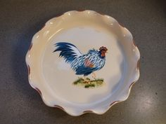 """Open Invitation French Country Style Pottery Rooster 9"""" Pie Plate"""