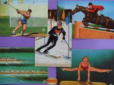 Images ... Les Jeux Olympiques TOKYO 1964 Cartes offertes par les chewing-gum Welcome - Tarzan et Johnny. Olympic Flash. Année 1964.  * N° 13 :  ATHLETISME  Lancement du marteau. * N° 15 :  AVIRON   Huit de pointe / Quatre avec barreur. * N° 21 :  EQUITATION  Jumping et Prix des Nations. * N° 26 :  GYMNASTIQUE  Cheval en longueur. * N° 37 :  SKI  Slalom  ... www.muluBrok.fr ...