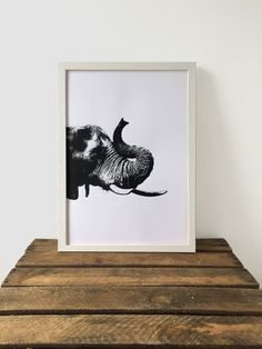 Elephant Print, Black and White Print, 29.7 cm x 42 cm, A3 Art Print, Animal Print, Screen Print, Gift Idea, Print