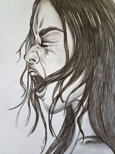 drawing dark screaming emotional pencil drawings artwork graphite woman face simple feminine
