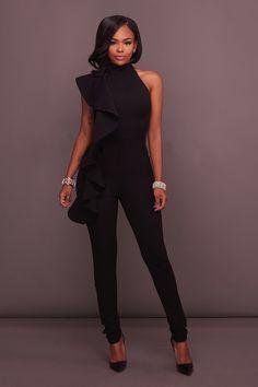 90429965ccd Asymmetrical High Neck Black Ruffle Formal Evening Jumpsuit For Women