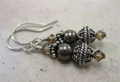 Swarovski brown and dark topaz crystals and pearls  Bali sterling silver drop everyday and dressy earrings - pinned by pin4etsy.com