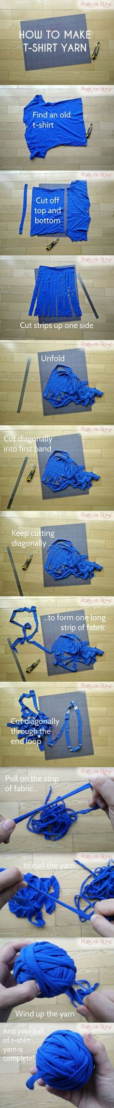 diy_crafts- How to make t-shirt yarn : recycle old t-shirst into something new by cutting them up to make yarn Yarn Projects, Knitting Projects, Crochet Projects, Sewing Projects, Sewing Tips, Crochet Crafts, Yarn Crafts, Fabric Crafts, Diy Crafts