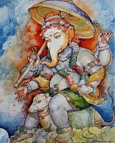 Spiritual Paintings, Lord Ganesha Paintings, Ganesha Art, Krishna Painting, Sri Ganesh, Ganesh Idol, Krishna Hindu, Krishna Leela, Ganesha Pictures